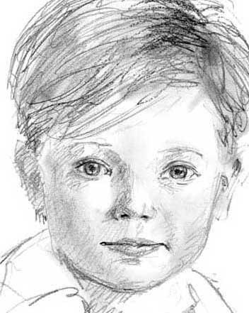 Sneltekening, klassiek snelportret, van gezicht van jongetje met potlood en houtskool op papier door sneltekenaar getekend
