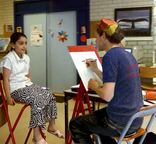 sneltekenaar tekent meisje