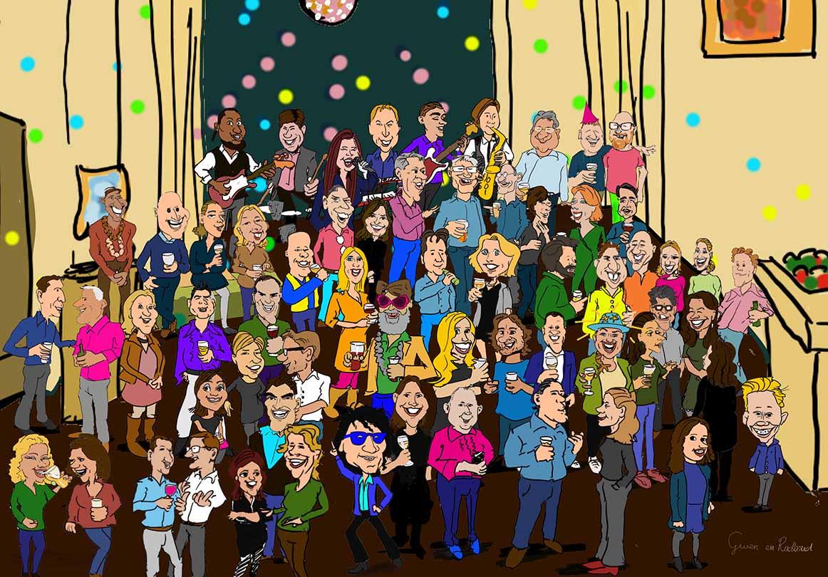 Alle gasten van het feest staan ten voeten uit op 1 cartoontekening