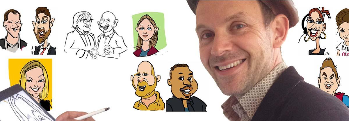 Op iPad pro tekent Radboud in kleur, zwart-wit, cartoon, realistisch, positieve karikaturen, als held