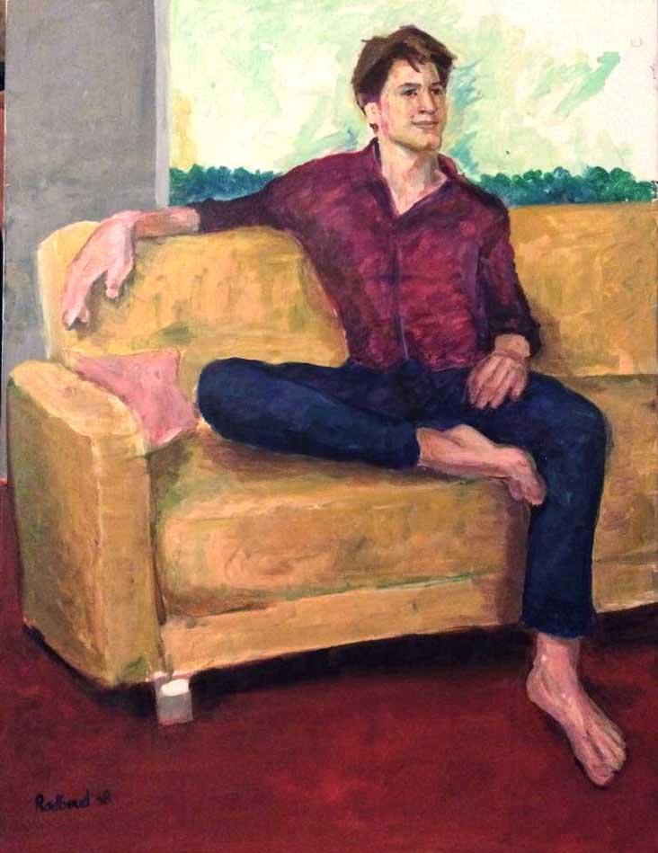 Portret van Elmo op de bank. Laten maken in acrylverf en op impressionistische wijze geschilderd. Van Gogh en Gauguin zijn inspiratiebronnen geweest.