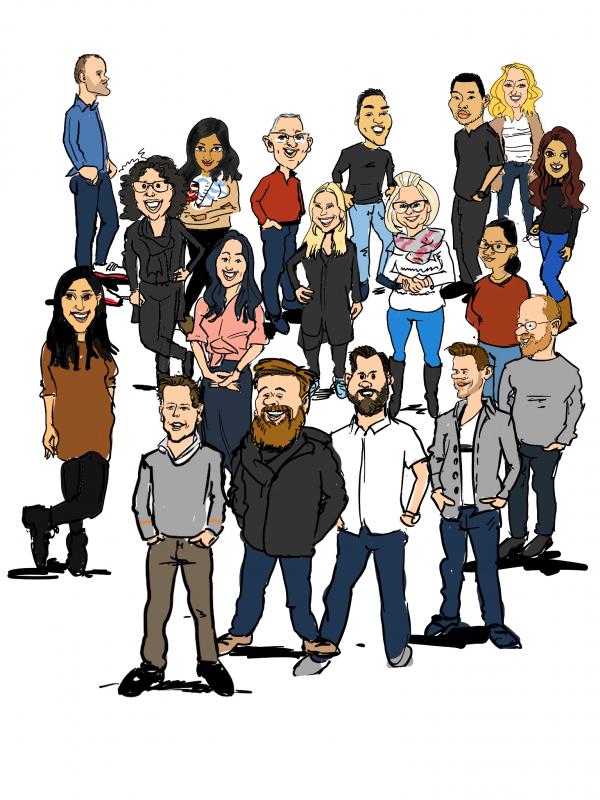 het hele bedrijf staat op de tekening. van iedereen is een karikatuur getekend op een iPad