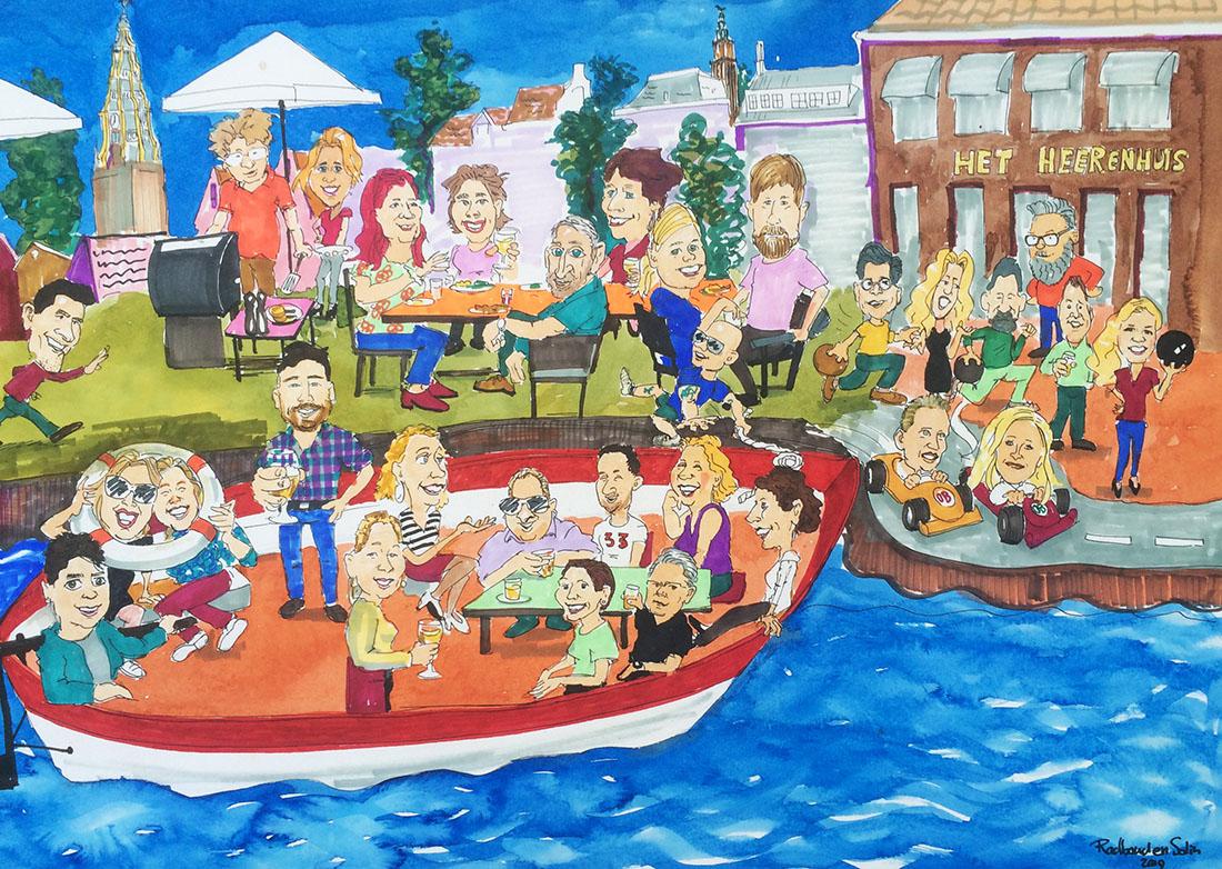 Live getekend en geschilderd verslag op groot papier van Gronings bedrijfsuitje, met mensen aan de bbq, mensen in de boot mensen aan het Karten.