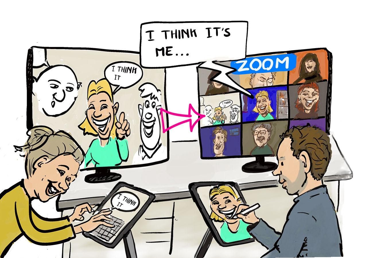 Cartoon van de sneltekenaars. Zij tekenen op hun iPad pro alle zoom deelnemers. In het zoom window van de tekenaars ziet iedereen live de cartoon getekend worden.