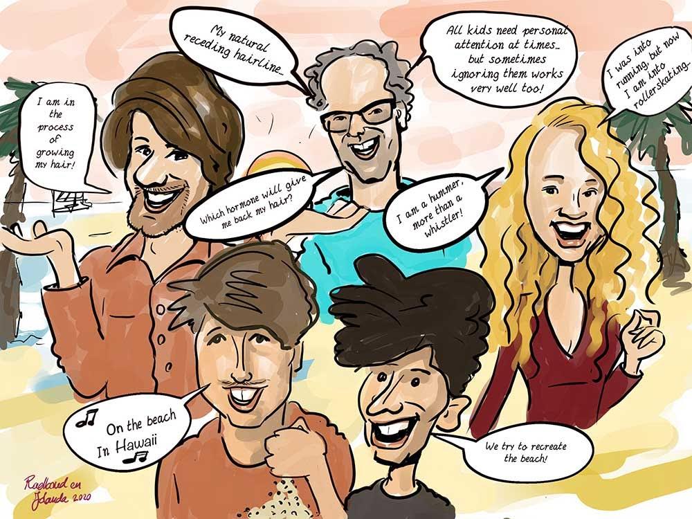 eindresultaat van de groeps karikatuur getekend via zoom. Met 5 mensen met ieder een tekstballon.