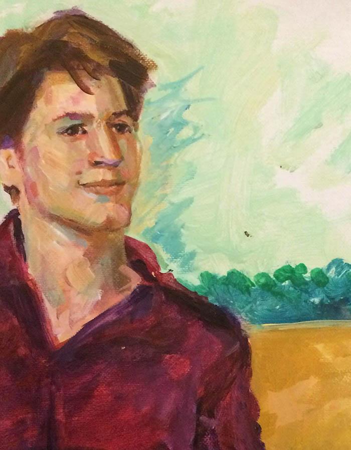 detail van portret schilderij van mijn zoon Elmo